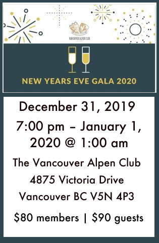 New Year's Eve Gala at the Vancouver Alpen Club