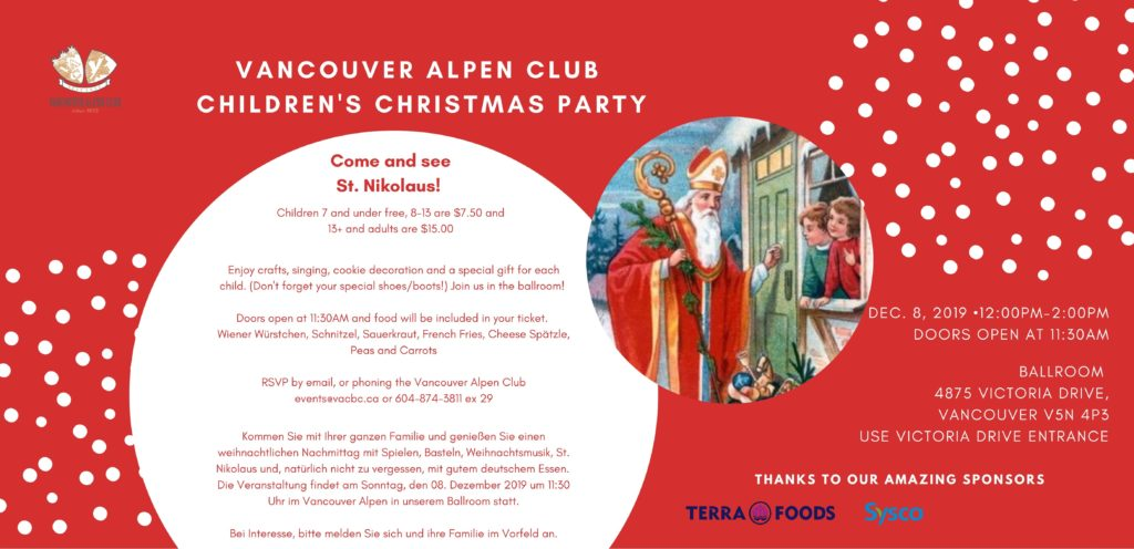 Children's Christmas Party at the Vancouver Alpen Club